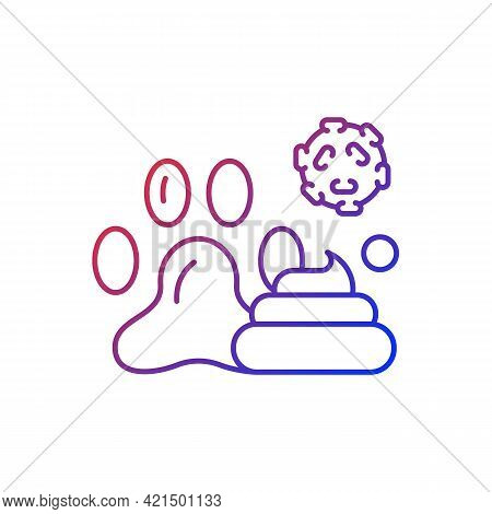 Animal Waste Gradient Linear Vector Icon. Source Of Transmitting Infection. Spreading Toxic Particle