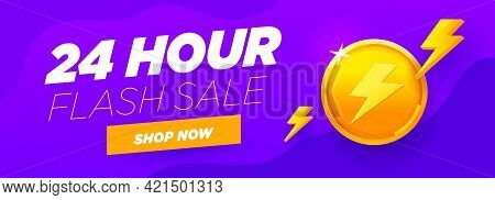 24 Hour Sale Violet Banner Special Discount With Big Gold Coin, Shop Now Button And Abstract Flash E