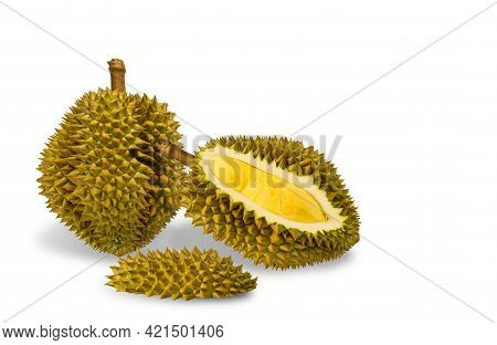 Durian Is A King Of Fruit  In Thailand. Durian The King Of Fruits The Yellow Color Is On The White B