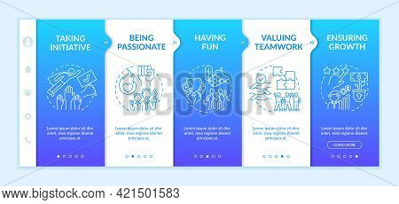Basic Organizational Core Values Onboarding Vector Template. Responsive Mobile Website With Icons. W
