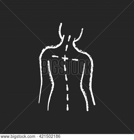 Uneven Shoulders Chalk White Icon On Black Background. Postural Change. Difficulty Walking. Back Pai