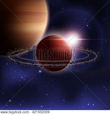 Outer Space Realistic Background With Saturn Planet With Orbit Vector Illustration