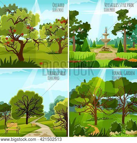 Garden Landscape 2x2 Design Concept Set Of Orchard Urban Park And Versatile Garden With Fountain And