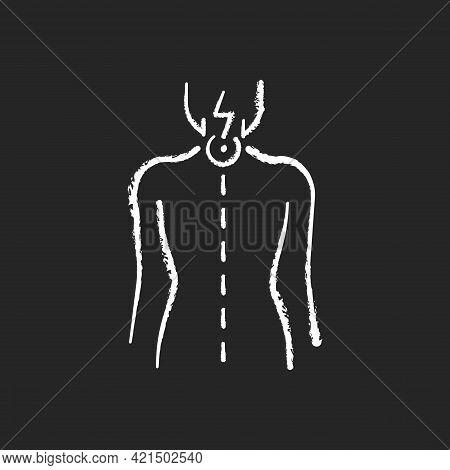 Neck Pain Chalk White Icon On Black Background. Nerve Root Compression. Cervical Radiculitis. Pressu