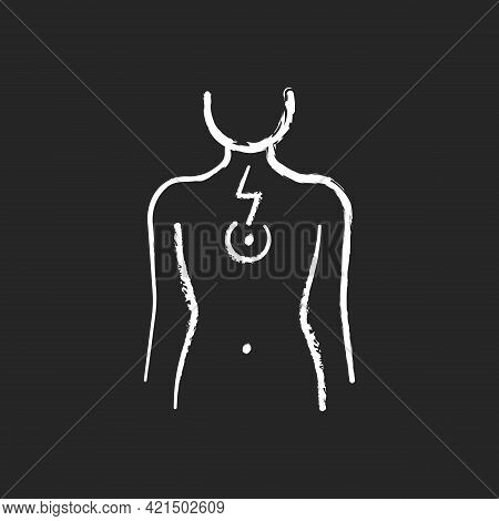 Chest Pain Chalk White Icon On Black Background. Affecting Lungs And Heart. Poor Posture Consequence