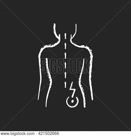 Lower Right Back Pain Chalk White Icon On Black Background. Sprains And Strains. Muscle-related One-
