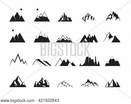 Set Of Rocky Mountains, Hills And Canyons Vector Icons. Symbol Of Rock Climbing And Alpinism As Well