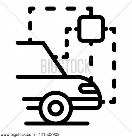 Self Parking Car Icon. Outline Self Parking Car Vector Icon For Web Design Isolated On White Backgro