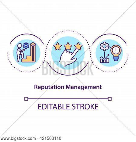 Reputation Management Concept Icon. Public Opinion. Building Company Positive Image. Business Influe