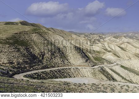 The Road On The Slope Of The Sandy Mountain Of The Judean Desert Covered With Spring Vegetation