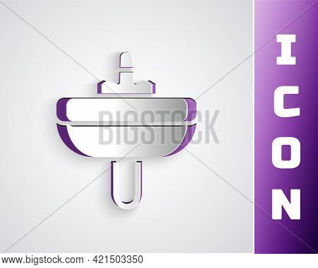 Paper Cut Washbasin With Water Tap Icon Isolated On Grey Background. Paper Art Style. Vector