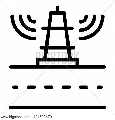 Signal Wireless Tower Icon. Outline Signal Wireless Tower Vector Icon For Web Design Isolated On Whi