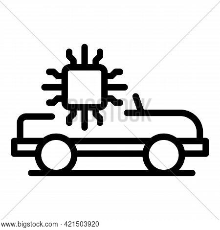 Autonomous System Car Icon. Outline Autonomous System Car Vector Icon For Web Design Isolated On Whi