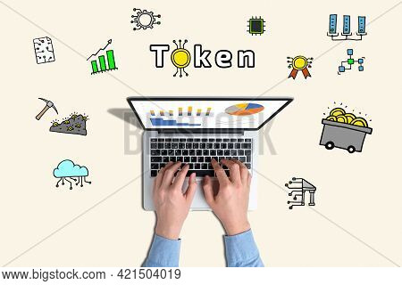 Concept Token Or Commitment Of A Cryptocurrency Project With Abstract Icons