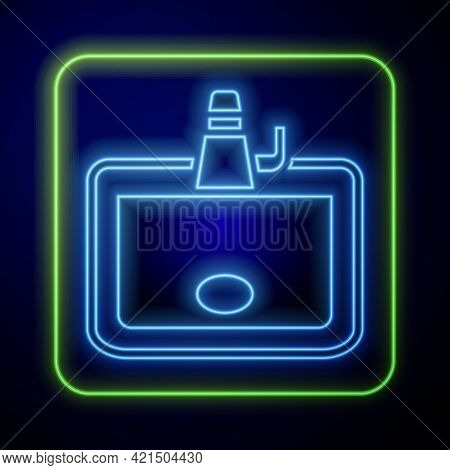 Glowing Neon Washbasin With Water Tap Icon Isolated On Blue Background. Vector
