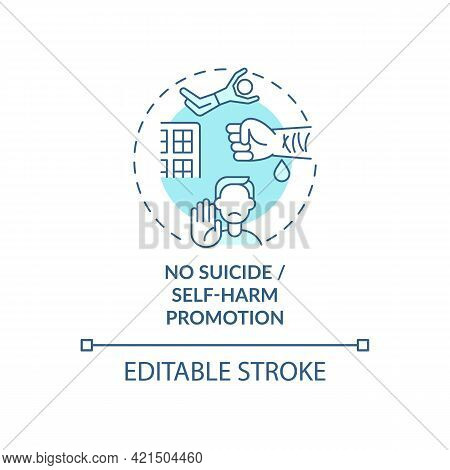 No Suicide And Self-harm Promotion Concept Icon. Social Media Safety Idea Thin Line Illustration. Fi