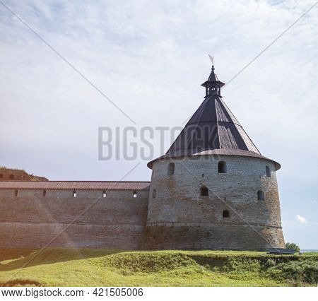 Saint-petersburg, Shlisselburg, Russia, 04 September 2020: Ancient Fortress Oreshek On The Island In