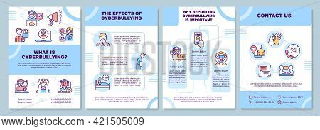 Cyberbullying Meaning Brochure Template. Online Harassment Effects. Flyer, Booklet, Leaflet Print, C