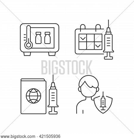 Vaccine Shot Linear Icons Set. Drug Storage. Two Dose Vaccination. Vaccinated Teen, Child. Customiza