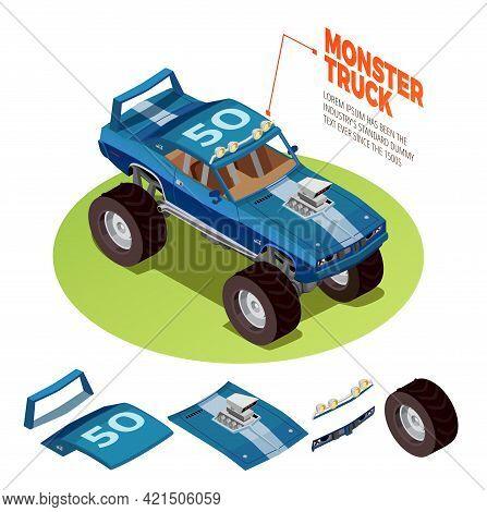 Monster Truck Model 4wd Four Runner Range Rover Off-road Vehicle Kit Isometric Package Image Adverti