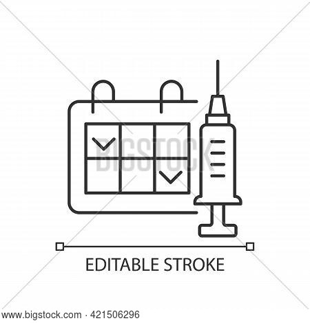 Two Dose Vaccination Linear Icon. Schedule For Drug Injection. 2 Doze Vaccine Schedule. Thin Line Cu