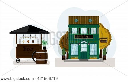 Beer Set. Irish Pub Exterior Vector Illustration. Street Stall With Draught Beer For Sale. Wooden Ca