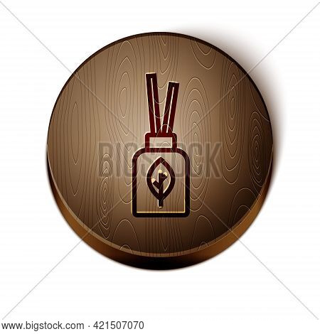 Brown Line Aroma Diffuser Icon Isolated On White Background. Glass Jar Different With Wooden Aroma S