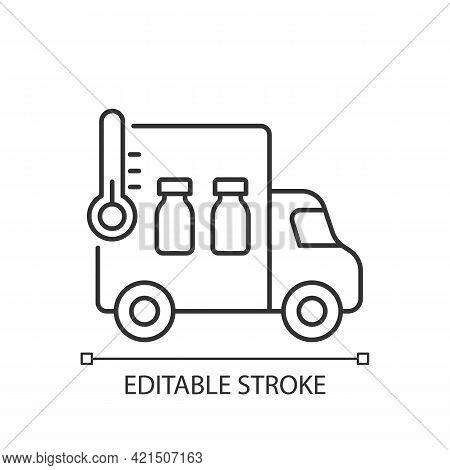 Vaccine Transportation Linear Icon. Drug Distribution. Pharmaceutical Remedy Shipment Van. Thin Line