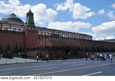 Panoramic View Of Red Square And The Mausoleum Of V.i. Lenin. Moscow, Russia, May 22, 2021