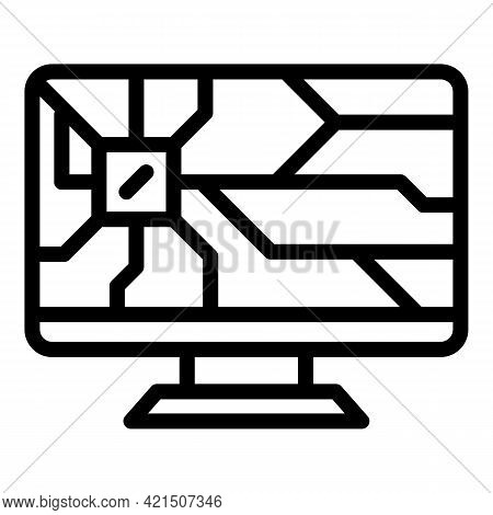 Broken Display Icon. Outline Broken Display Vector Icon For Web Design Isolated On White Background