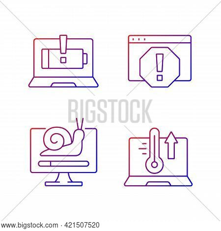 Computer Errors Gradient Linear Vector Icons Set. Battery Not Charging. System Error Window. Slow Pr