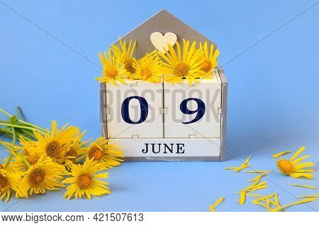 Calendar For June 9: Cubes With The Numbers 0 And 9 , The Name Of The Month Of June In English, Yell