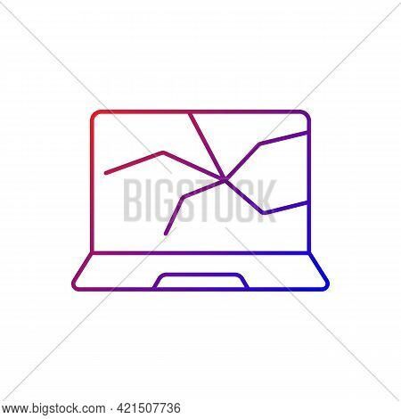 Broken Screen Gradient Linear Vector Icon. Cracked Display. Smashed Touch Screen, Electronic Device