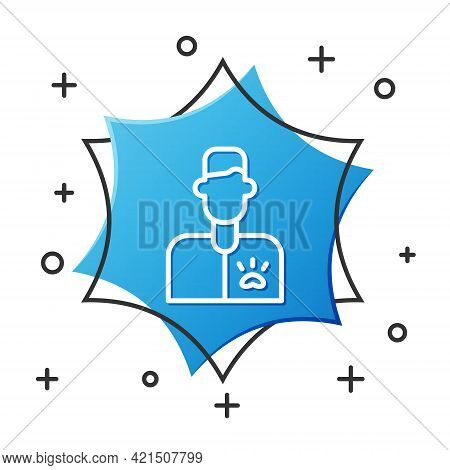 White Line Veterinarian Doctor Icon Isolated On White Background. Blue Hexagon Button. Vector