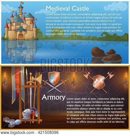 Attributes Of Knight Compositions With Medieval Castle And Heraldic Signs On Armour Weapons Shields