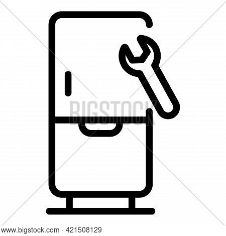 Wrench Fridge Icon. Outline Wrench Fridge Vector Icon For Web Design Isolated On White Background