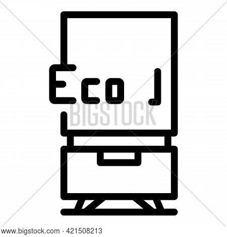 Eco Fridge Icon. Outline Eco Fridge Vector Icon For Web Design Isolated On White Background