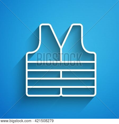 White Line Life Jacket Icon Isolated On Blue Background. Life Vest Icon. Extreme Sport. Sport Equipm
