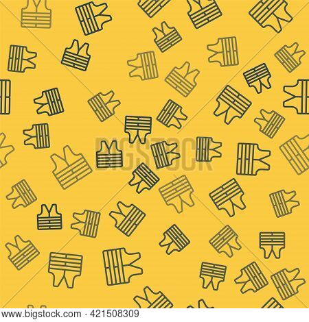 Blue Line Life Jacket Icon Isolated Seamless Pattern On Yellow Background. Life Vest Icon. Extreme S