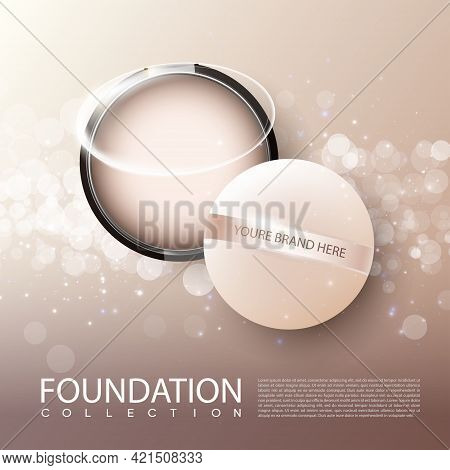 Foundation Female Cosmetic Product Ads Poster With Face Powder In Realistic Style Vector Illustratio