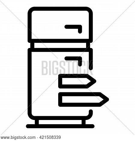 Energy Consume Fridge Icon. Outline Energy Consume Fridge Vector Icon For Web Design Isolated On Whi