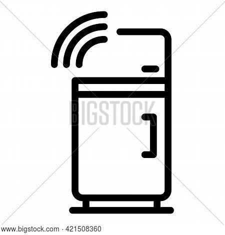 Smart Fridge Icon. Outline Smart Fridge Vector Icon For Web Design Isolated On White Background