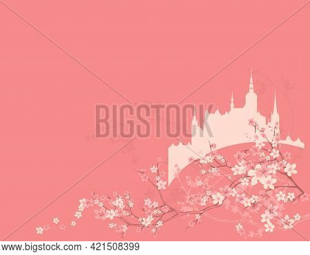 Blooming Spring Season Tree Branches And Magic Fairy Tale Princess Castle Vector Copy Space Backgrou