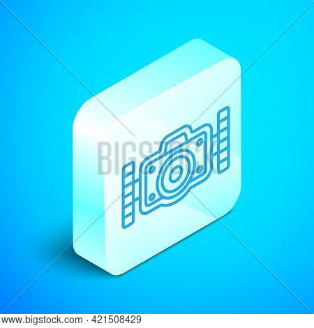 Isometric Line Photo Camera For Diver Icon Isolated On Blue Background. Foto Camera Icon. Diving Und