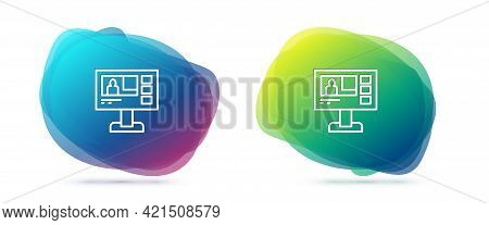 Set Line Television Report Icon Isolated On White Background. Tv News. Abstract Banner With Liquid S