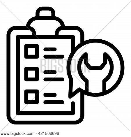 Repair Checklist Icon. Outline Repair Checklist Vector Icon For Web Design Isolated On White Backgro