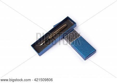 Fountain Pen, Fountain Pen In Detail Inside Beautiful Box, On White Background, Top View.
