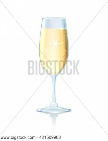 Elegant Long Stemmed Flute Of Sparkling Chilled Champagne On A Reflective Surface To Celebrate A Rom