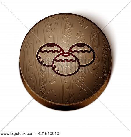 Brown Line Jewish Sweet Bakery Icon Isolated On White Background. Hanukkah Sufganiyot. Jewish Easter