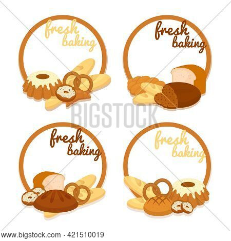 Set Of Colorful Vector Fresh Baking Price Badges With Round Frames Enclosing Copyspace And An Assort